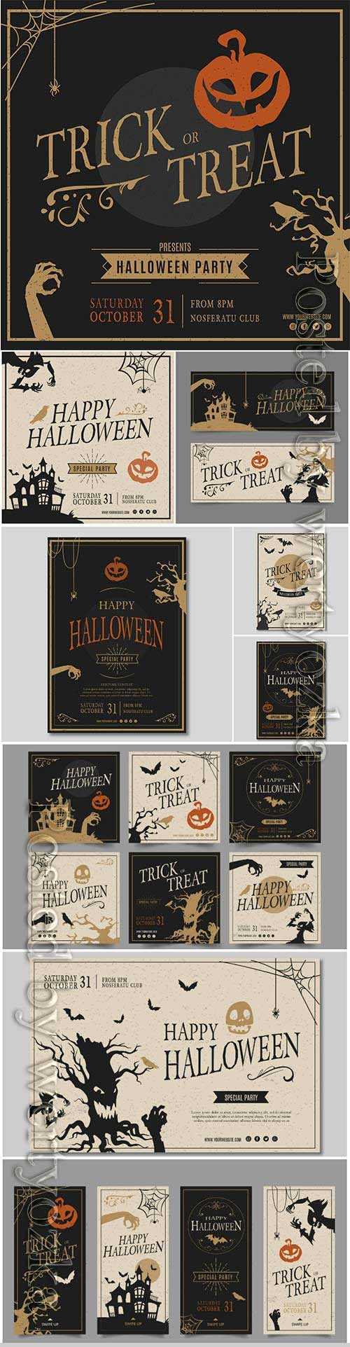 Halloween party squared flyer template