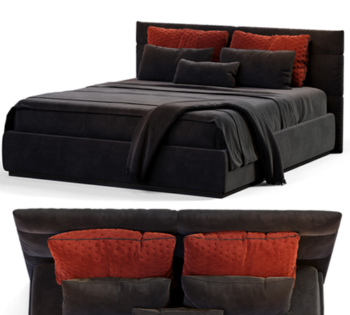 Modern black double bed