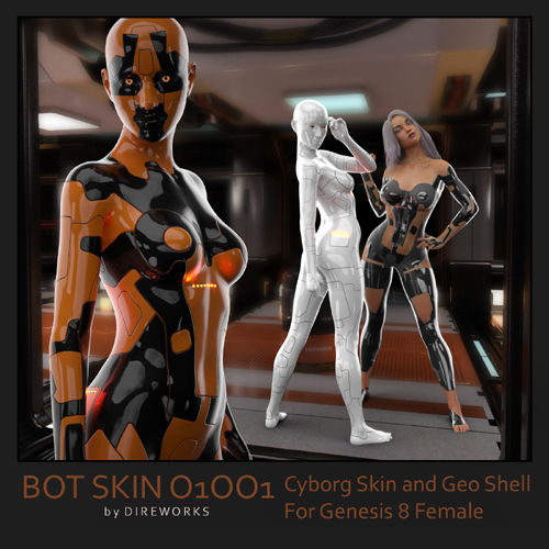 BotSkin. Double Layer Cyborg Skin - Materials and Geo Shell for Genesis 8 Female