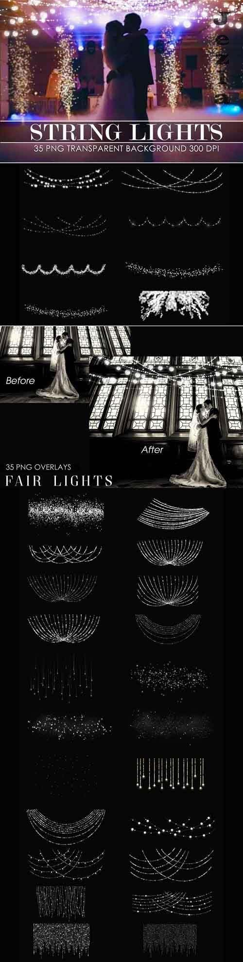 String lights overlays transparent png - 415764