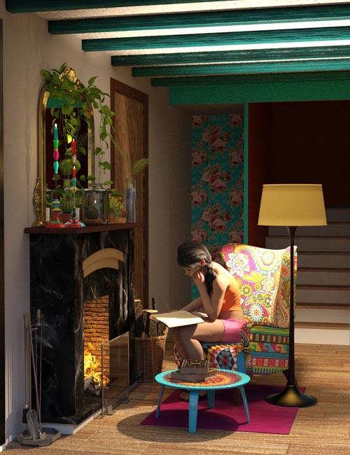 Boho Cottage : Base and Fireplace