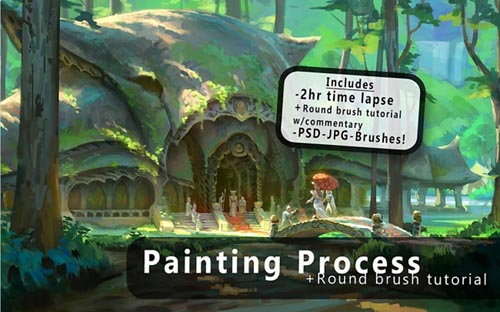 Gumroad – Round Brush Painting + Brush Tutorial By Jeremy Fenske