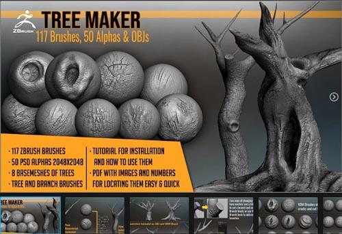 Artstation – Tree Maker: 117 ZBrush Brushes, 50 Alphas and 8 Tree Basemeshes