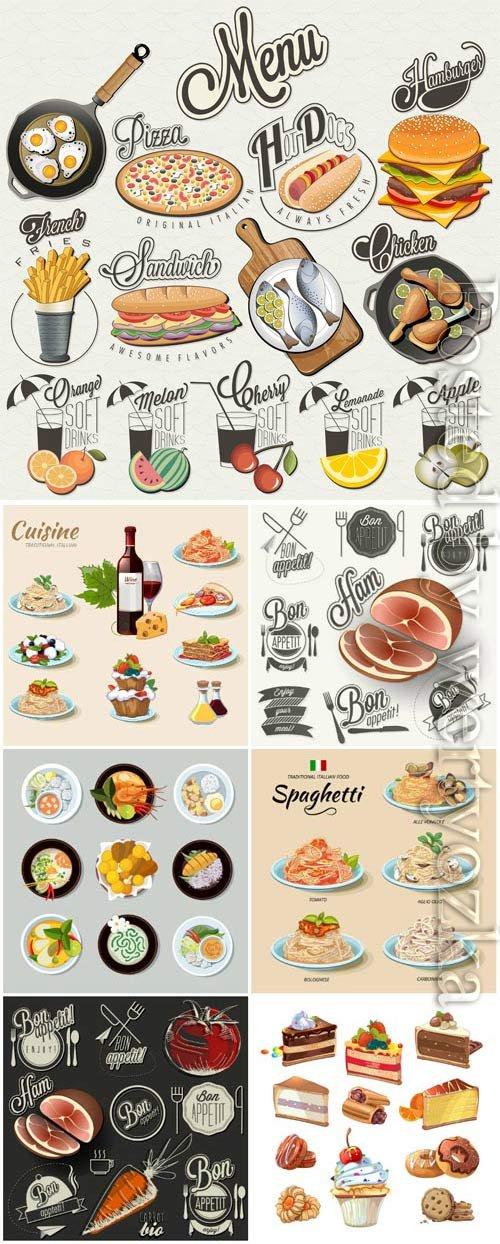 Menu, food in vector