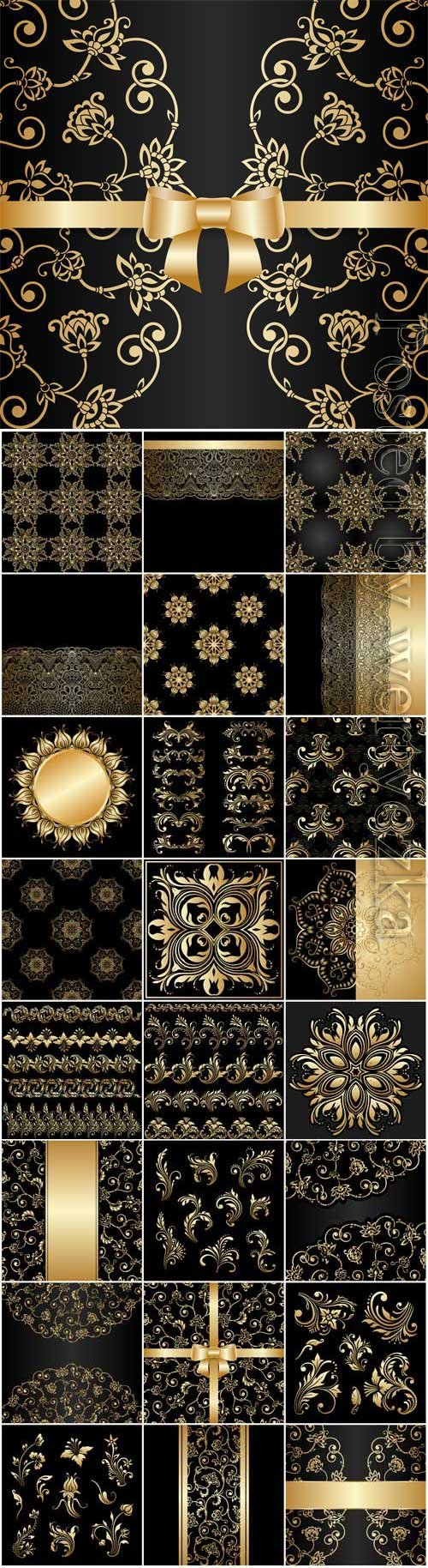 Gold decorative elements and patterns in vector