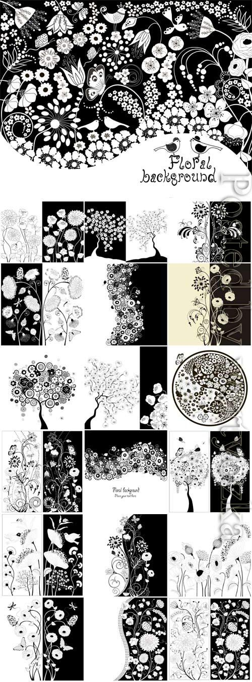 Flowers and birds in black and white style in vector
