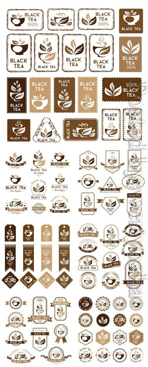 Black tea, logos and labels in vector