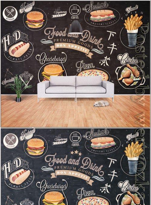 Hand drawn vintage chalkboard western style fast food background wall