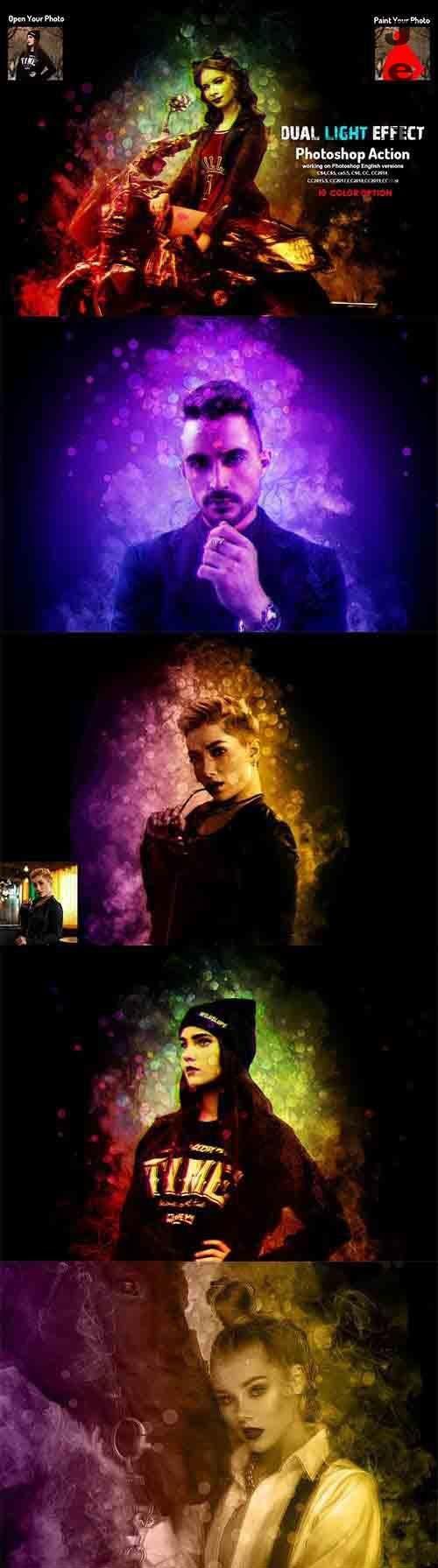 CreativeMarket - Dual Light Effect Photoshop Action 5917432