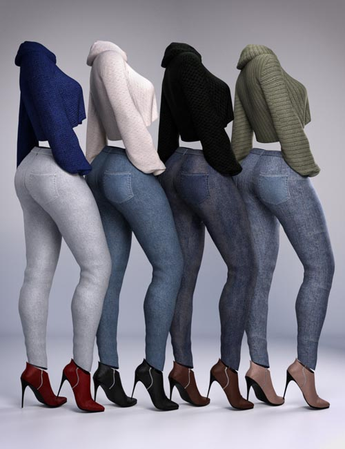 dForce Crop Sweater and Jeans Outfit Textures
