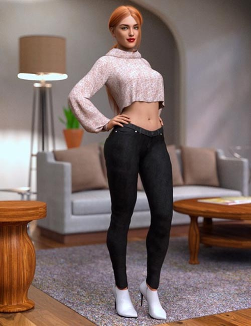 dForce Crop Sweater and Jeans Outfit for Genesis 8 Female(s)