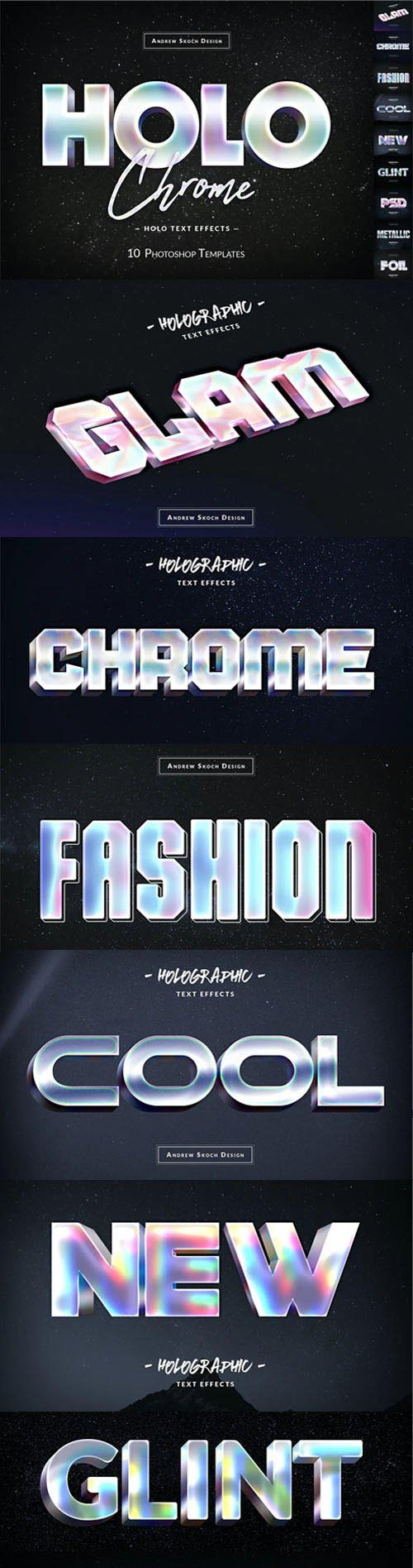 10 Holochrome Photoshop Text Effects Templates