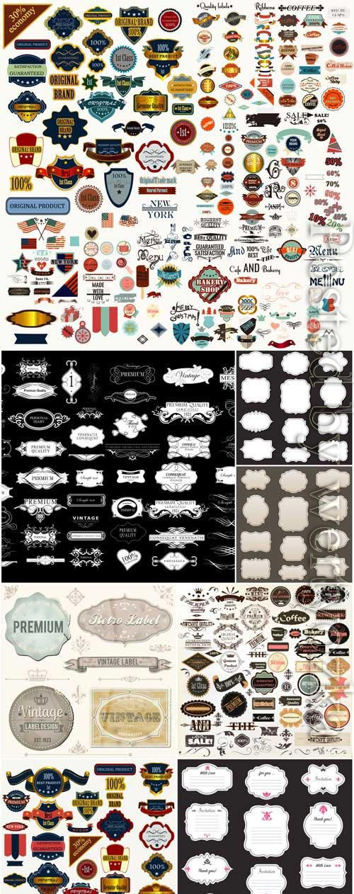 Stickers and labels, vintage frames in vector
