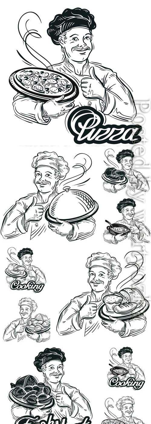 Chef with pizza in vector