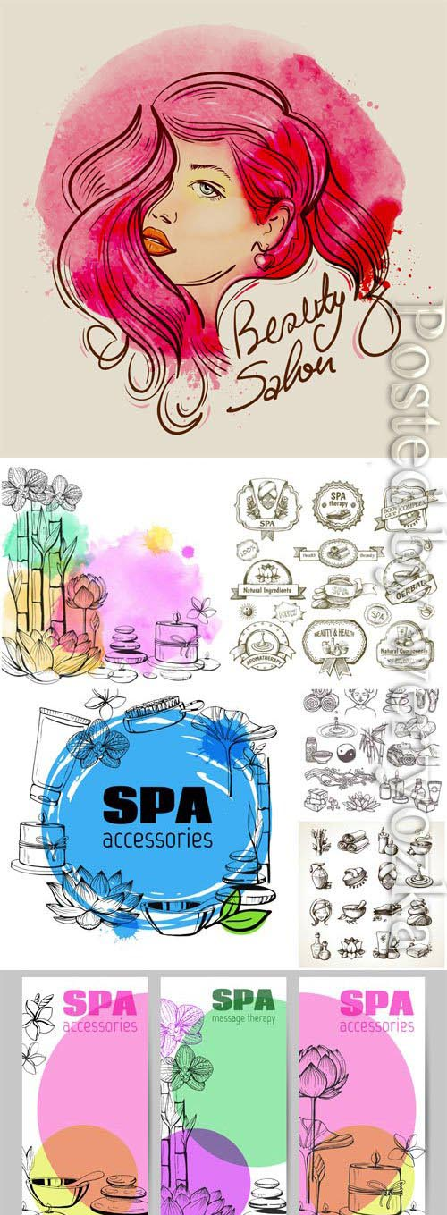 Spa elements for design, logos for salon in vector