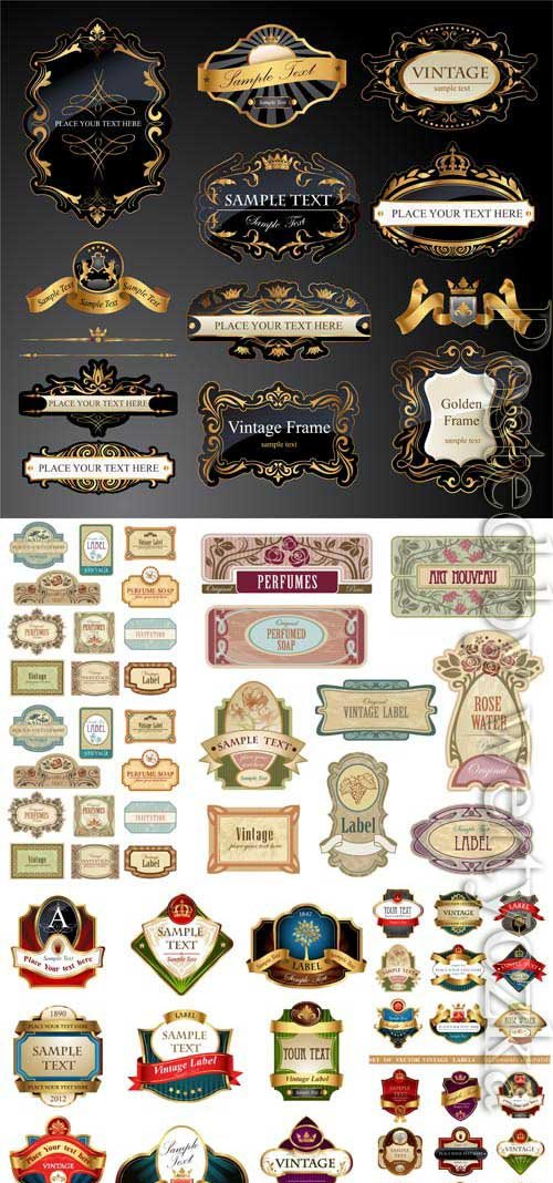 Labels and badges in vintage style in vector