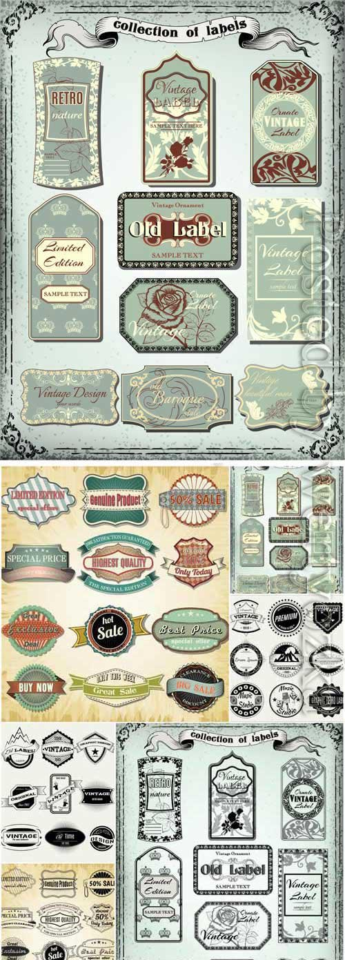 Labels and raiki in retro style in vector