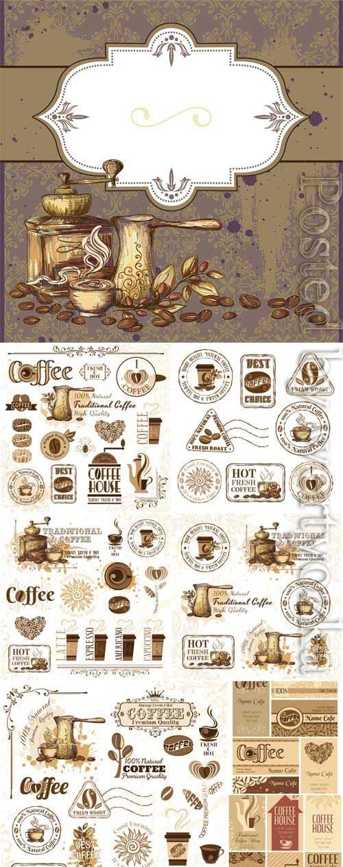 Coffee vintage elements, logos in vector