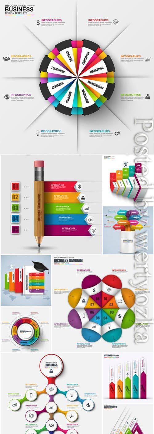 Colored infographics in vector