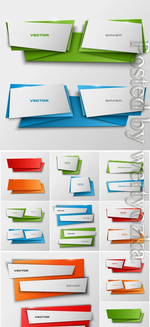 Colored banners in the form of origami in vector