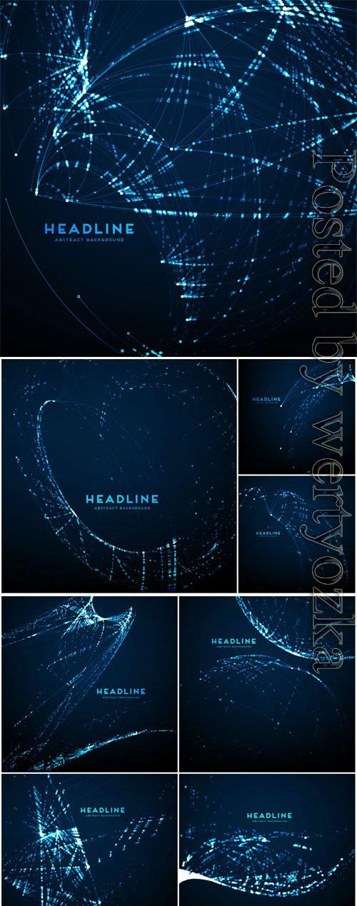 Dark backgrounds with shining abstractions in vector