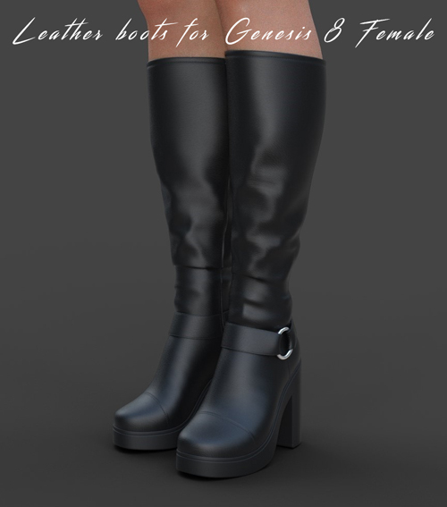 Leather boots for Genesis 8 Female