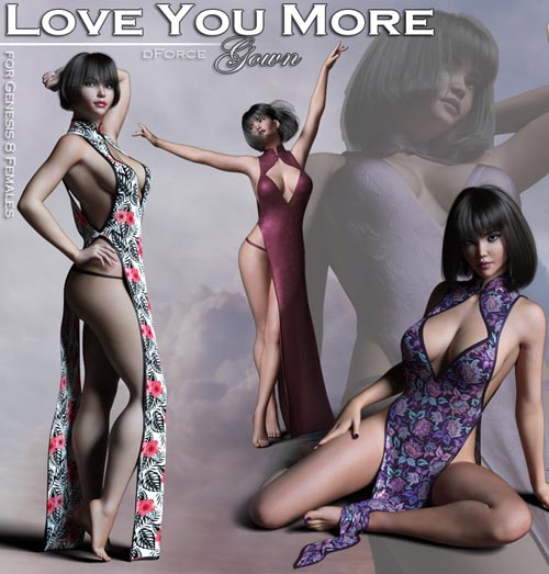 Love You More Gown for Genesis 8 Female