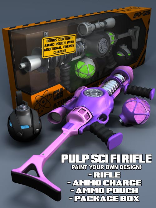 Pulp SciFi Rifle for Poser and DS
