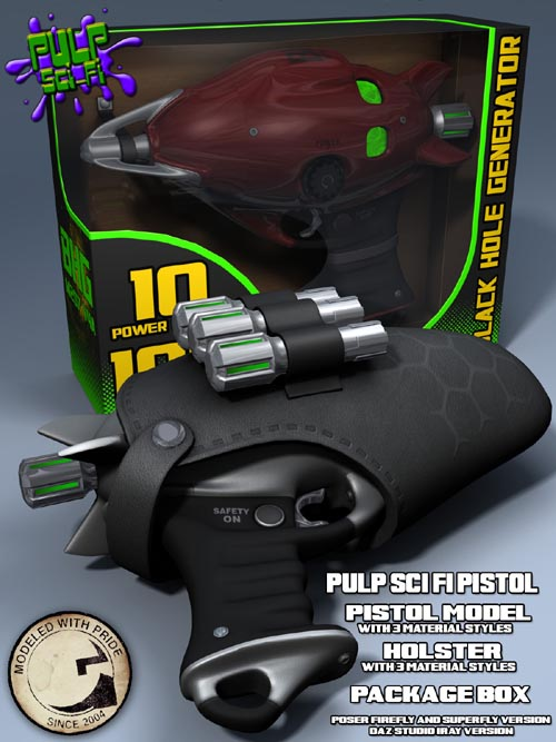 Pulp SciFi Pistol for Poser and DS