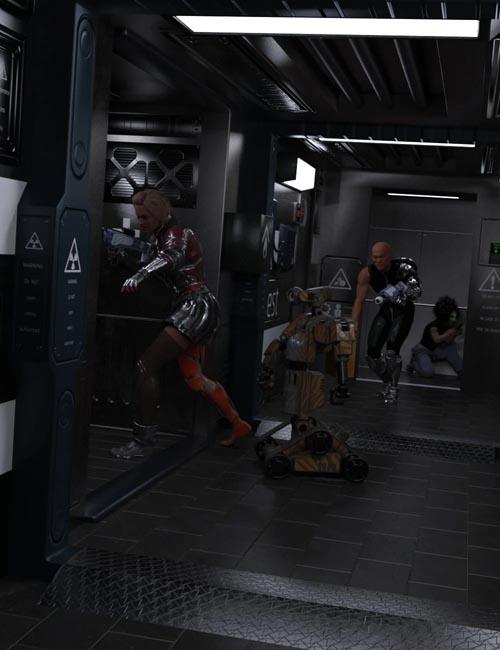Compact Cyberpunk Apartment Corridor