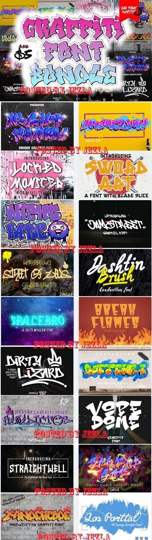 Graffiti Font Bundle - 20 Premium Fonts