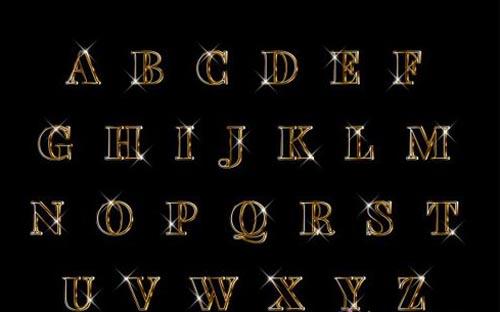 Luxury elegant 3d gold alphabets set