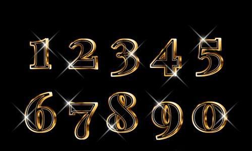Luxury elegant 3d gold numbers set