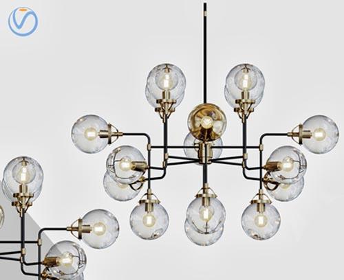 Bistro Globe Clear Glass Chandelier