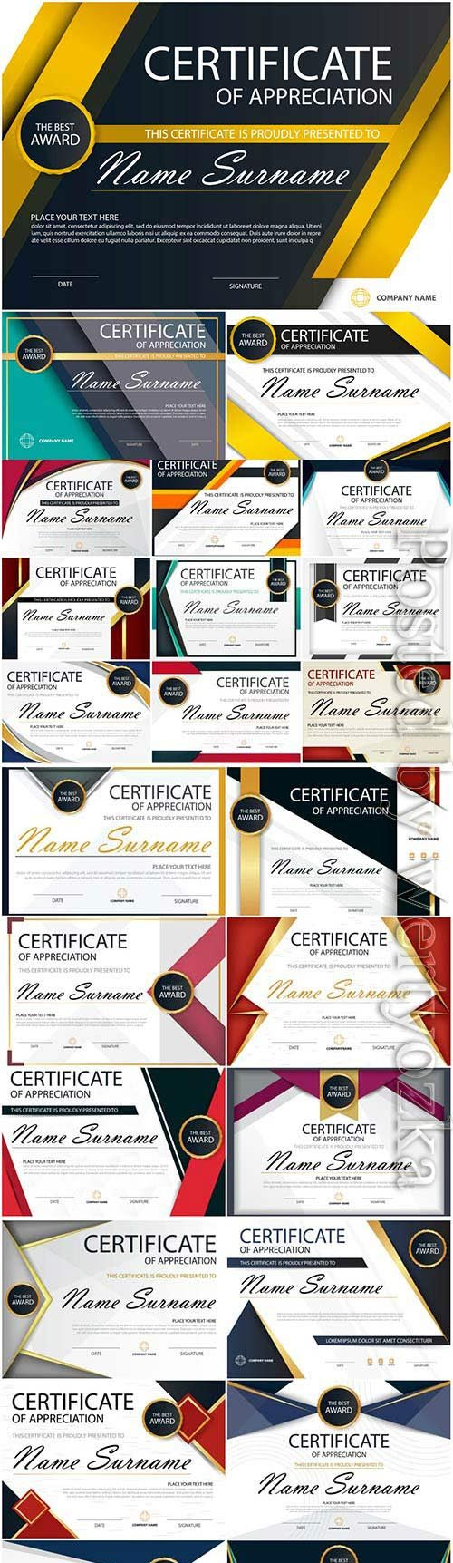 Diplomas and certificates set in vector