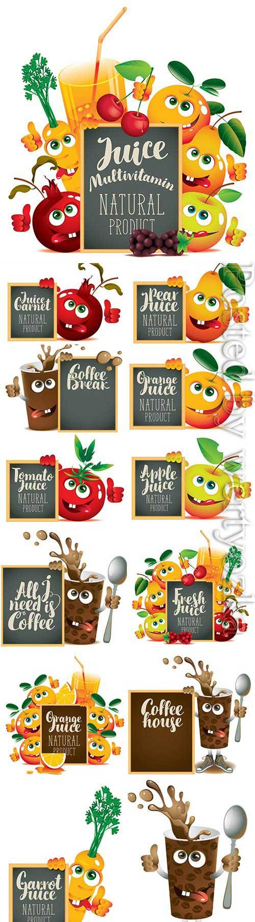 Cartoon fruits with blackboard for text in vector