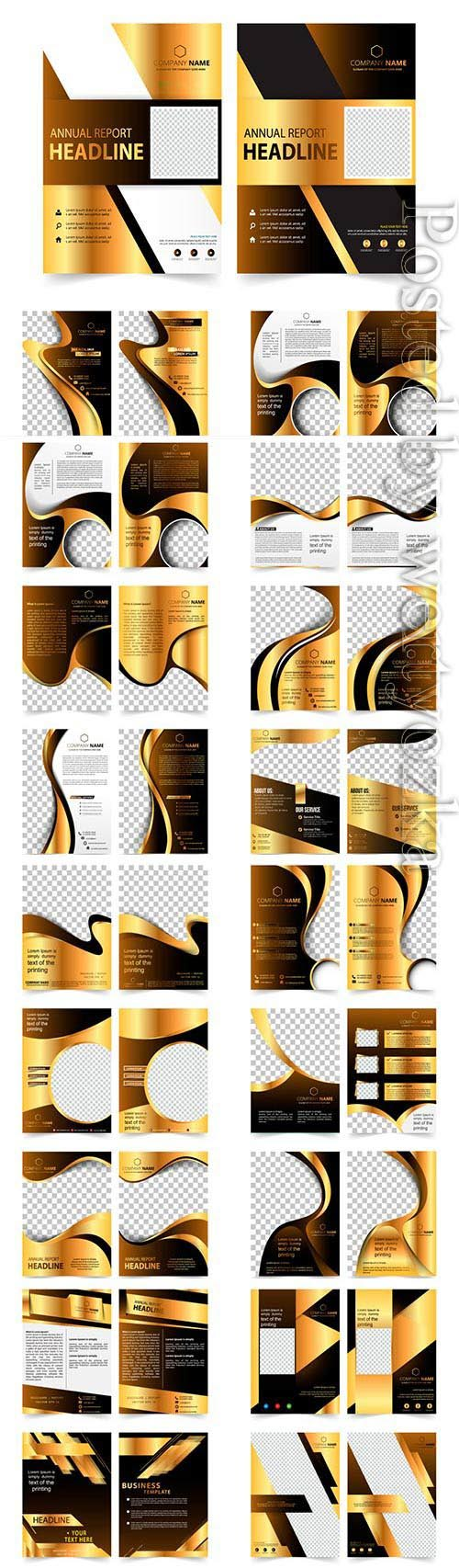 Business brochures with black gold design in vector