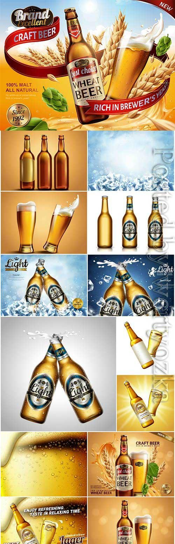 Beer bottles advertising posters in vector