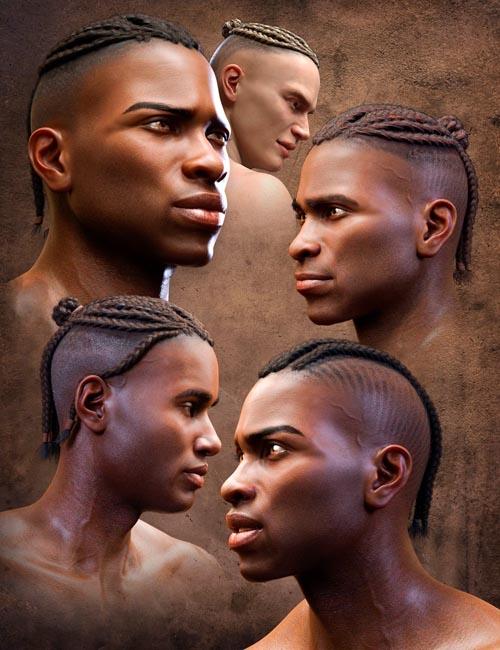 Corn Row Hair Set for Genesis 8.1 and Genesis 8 Males