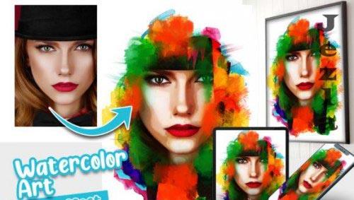 Watercolor Art Photo effect template