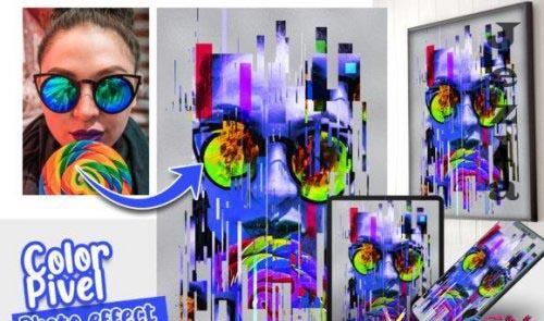 Color Pixel Photo effect template