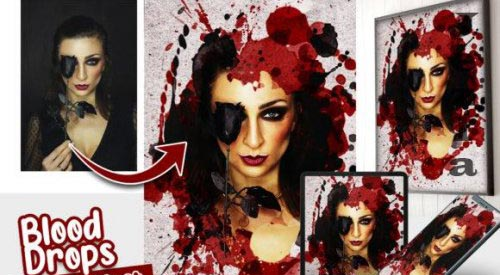 Blood Drops Photo effect template