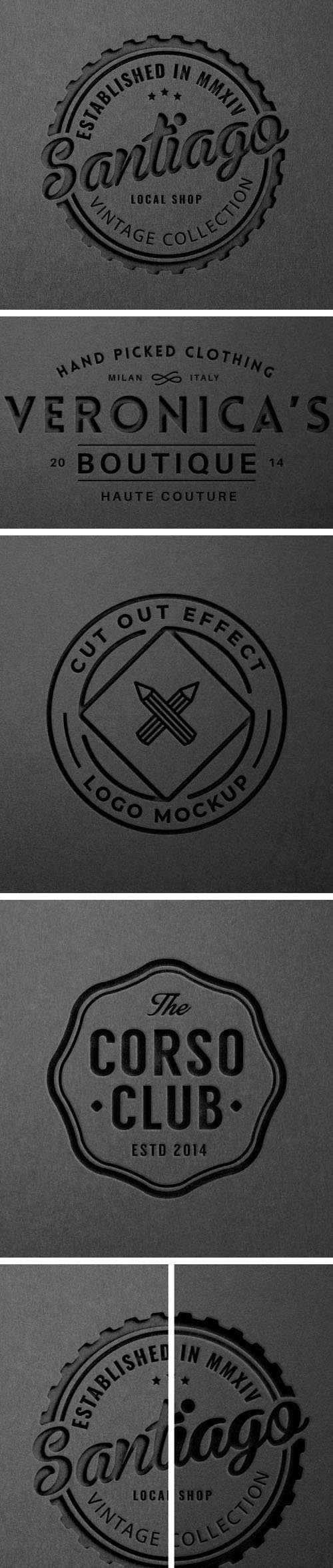Cut-Out Effect - Paper Logo PSD Mockup Template