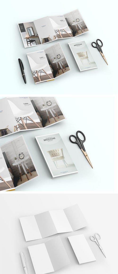 4-Fold Brochure PSD Mockup Template