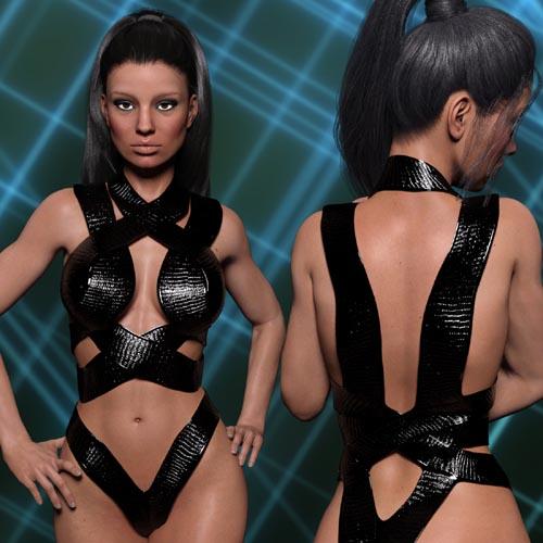 InStyle - X-Fashion Strappy Bodysuit 2 for Genesis 3 Females