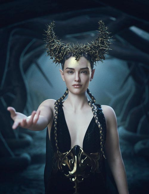 Thorns and Petals Headdress for Genesis 8 Females
