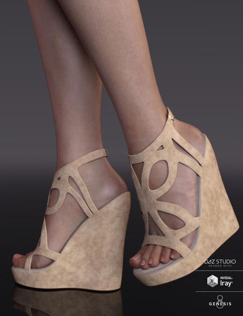 Cricket Wedge Sandals for Genesis 8 Female(s)