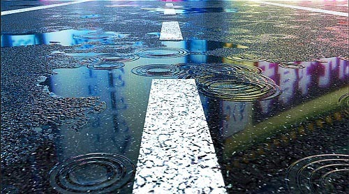 Raindrops And Puddles On Street Pavement 871813
