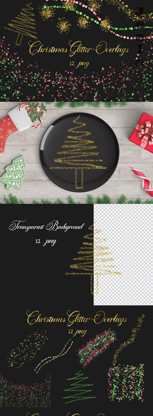 Christmas Glitter Overlays Clipart