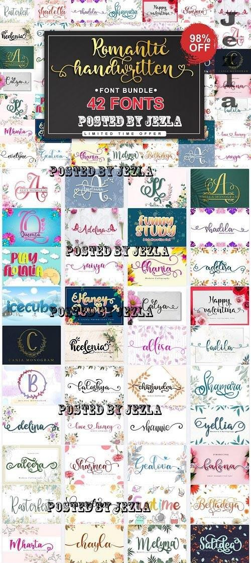 Romantic Handwritten Fonts Bundle - 42 Premium Fonts